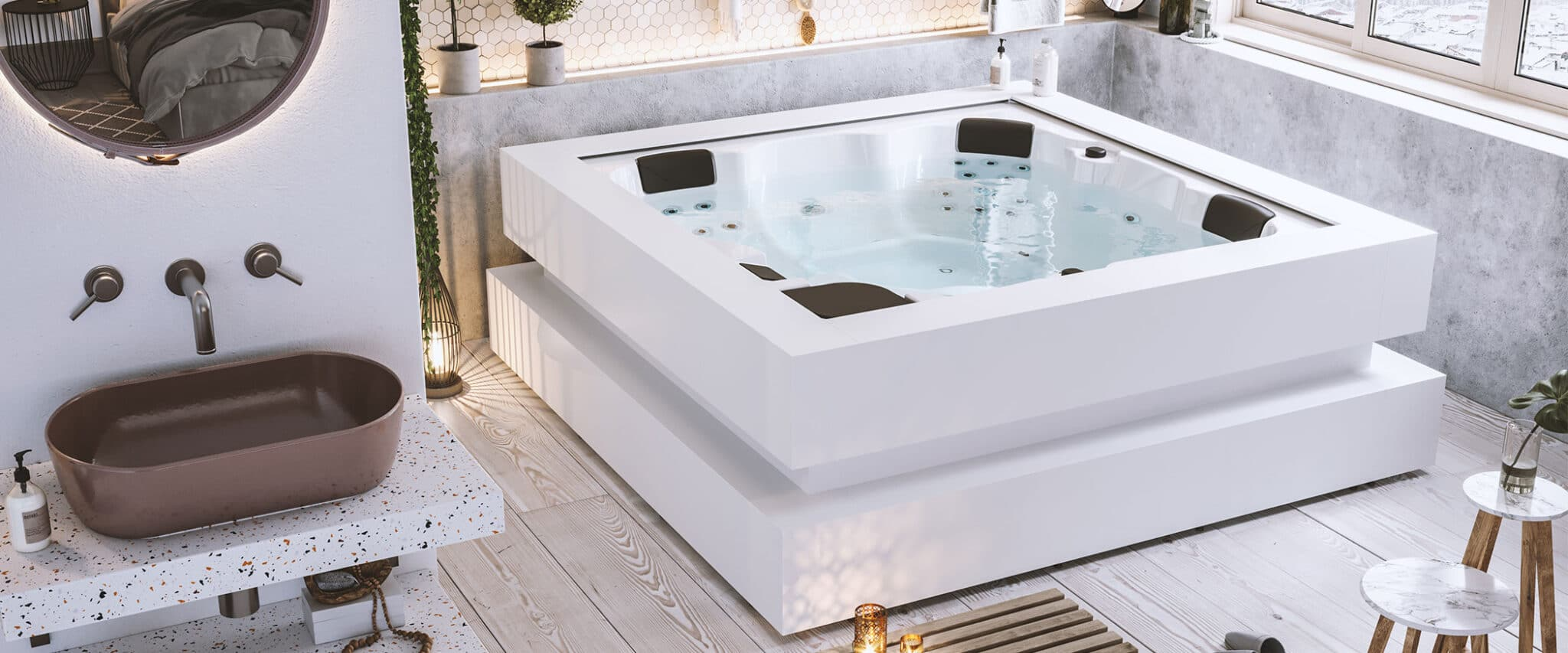 Cube Ergo Hot Tub Outdoor Or Indoor Jacuzzi For 5 People Aquavia Spa